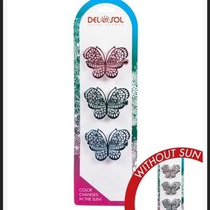 Del sol color changing hair clip metal butterfly